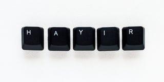 Exprimez le ` AUCUN ` du ` HAYIR de signification de ` en turc écrit avec la clé de clavier Photos stock