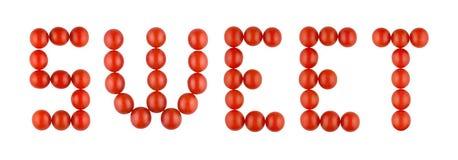 Exprimez le BONBON fait à partir des tomates rouges sur le fond blanc photographie stock