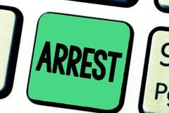 Exprimez le concept d'affaires d'arrestation des textes d'écriture pour saisissent quelqu'un par autorité juridique et les prenne illustration de vecteur