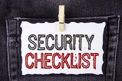 Exprimez le concept d'affaires de liste de contrôle de sécurité des textes d'écriture pour la liste avec des noms autorisés pour  photographie stock