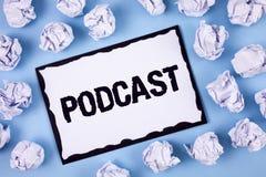 Exprimez le concept d'affaires de Podcast des textes d'écriture pour l'audio en ligne de Digital de divertissement de multimédia  photo stock