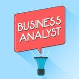 Exprimez le concept de Business d'analyste d'affaires des textes d'écriture pour quelqu'un qui analyse le grand domaine d'organis Illustration Stock