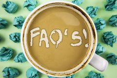 Exprimez le FAQ des textes d'écriture \ 'l'appel de motivation de S Concept d'affaires pour des questions multiples répondues pou image libre de droits