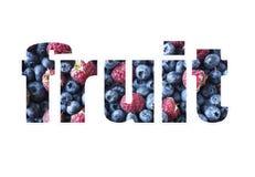 Exprimez le FRUIT composé de différents fruits et baies nourriture Noir-bleue et rouge framboises de myrtilles mûres image libre de droits