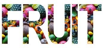 Exprimez le fruit présenté à des fruits multicolores colorés Concept sain de nourriture Produit végétarien Matières premières org photos libres de droits