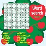 Exprimez le jeu de recherche. fruits Photos stock