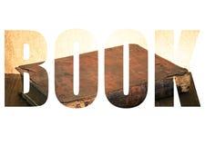 Exprimez le LIVRE au-dessus du livre antique sur la vieille table en bois toned Images libres de droits