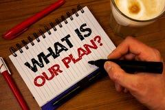 Exprimez le texte d'écriture ce qui est notre question de plan Concept d'affaires pour le noir de prise de main de séance de réfl photos libres de droits
