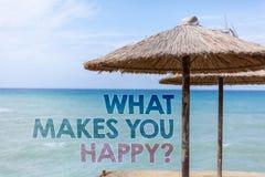 Exprimez le texte d'écriture ce qui te fait la question heureuse Le concept d'affaires pour le bonheur vient avec de l'eau bleu p photo stock
