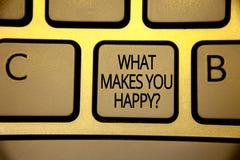 Exprimez le texte d'écriture ce qui te fait la question heureuse Le concept d'affaires pour le bonheur vient avec l'amour et le b Image libre de droits