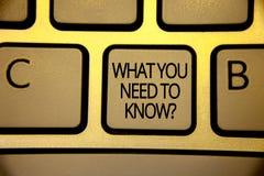 Exprimez le texte d'écriture de ce que vous avez besoin pour connaître la question Le concept d'affaires pour l'éducation dévelop images stock