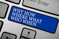 Exprimez le texte d'écriture pourquoi comment où ce qui qui quand Le concept d'affaires pour que les questions trouvent des solut photo libre de droits