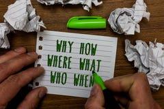 Exprimez le texte d'écriture pourquoi comment où ce qui qui quand Concept d'affaires pour que les questions trouvent la question  images stock
