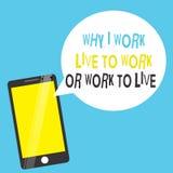 Exprimez le texte d'écriture pourquoi je travaille Live To Work Or Work pour vivre Concept d'affaires pour définir les priorités  illustration de vecteur