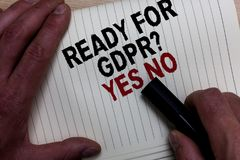 Exprimez le texte d'écriture prêt pour la question de Gdpr oui aucune Concept d'affaires pour la main GR de l'homme réglementaire image libre de droits