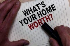 Exprimez le texte d'écriture quel s est votre à la maison en valeur la question Concept d'affaires pour la valeur de la main g d' images libres de droits