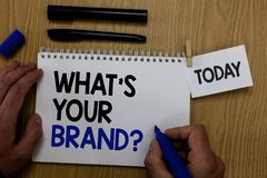 Exprimez le texte d'écriture quel s est votre question de marque Le concept d'affaires pour la marque déposée individuelle Define photographie stock