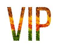 Exprimez le VIP écrit avec le fond d'isolement par blanc de feuilles, bannière pour imprimer, illustration créative des feuilles  photographie stock libre de droits