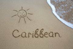 Exprimez les Caraïbe écrites sur le sable près de la mer photo stock