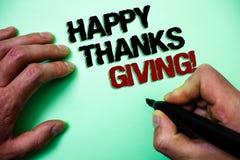 Exprimez les mercis heureux des textes d'écriture donnant l'appel de motivation Le concept d'affaires pour des félicitations expr Photo stock