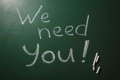 """Exprimez-""""nous ont besoin de vous """"écrit sur le tableau vert, vue supérieure photo libre de droits"""