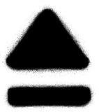 Expulse el medios icono del espray de la pintada en negro sobre blanco Imágenes de archivo libres de regalías