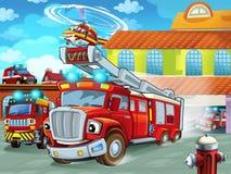 Expulsión del firetruck de la historieta del parque de bomberos a la acción con otros diversos vehículos del bombero libre illustration