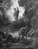 Expulsion d'Adam et d'Eve du paradis Image stock