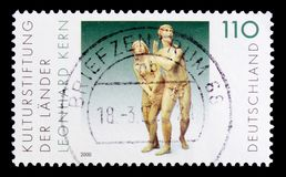 The Expulsion from Paradise, sculpture by Leonhard Kern, Cultural Foundation of the Federal States serie, circa 2000. MOSCOW, RUSSIA - OCTOBER 21, 2017: A stamp Stock Photo