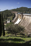 Expulsion of water after heavy rains in the reservoir of Puente Nuevo to river Guadiato Stock Photo