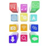 Expulso para fora os ícones da aplicação isolados sobre Imagem de Stock
