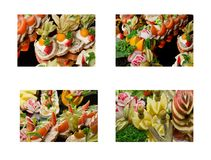 Exquisite and appetizing food sets - salads, dinner dishes royalty free stock photo