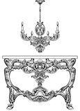 Exquisite Baroque console table and chandelier engraved. Vector French Luxury rich intricate ornamented structure Stock Photo