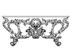 Exquisite Baroque console table engraved. Vector French Luxury rich intricate ornamented structure. Victorian Royal Style decor Stock Image