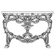 Exquisite Baroque console table engraved. Vector French Luxury rich intricate ornamented structure. Victorian Royal Stock Image