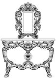 Exquisite Baroque dressing table engraved. Vector French Luxury rich intricate ornamented structure. Victorian Royal Royalty Free Stock Photo