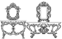 Exquisite Baroque dressing table engraved. Vector French Luxury rich intricate ornamented structure. Victorian Royal Royalty Free Stock Photography