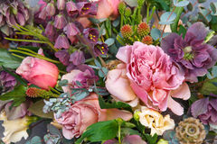 Background of exquisite beautiful bouquet with roses and flowers closeup Royalty Free Stock Image