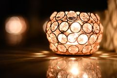 Beautiful Crystal lamp Diwali light. Exquisite and Beautiful lamp made out of crystals, used as a decorative light during Indian festival of lights, Diwali stock photography