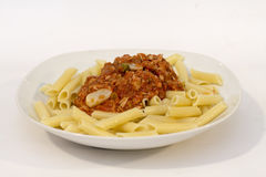 Exquisite bolognesa italian sauce pasta perfect and delicious meal Stock Images