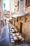 Exquisite café, Croatia. Exquisite outdoor café, Hvar city, Hvar, Croatia Stock Images