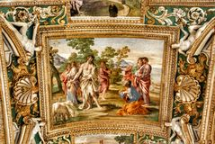 Exquisite ceiling of Gallery of Maps, Vatican museum, Rome. Royalty Free Stock Photos