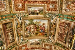 Exquisite ceiling of Gallery of Maps, Vatican museum, Rome. Royalty Free Stock Photography