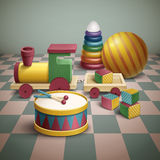 Exquisite colorful toys set Stock Photos