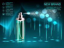 Exquisite cosmetic ads template, blank cosmetic mockup with sparkling bokeh background and dazzling effect, cosmetic. Spray bottle, tube. 3D illustration Royalty Free Stock Photography