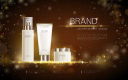 Exquisite cosmetic ads template. Blank cosmetic mockup with sparkling bokeh background and dazzling effect, cosmetic spray bottle, tube. 3D illustration Stock Images