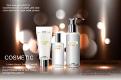 Exquisite cosmetic ads template, blank  mockup with sparkling bokeh background and dazzling effect,  spray bottle, tu. Exquisite cosmetic ads template, blank Royalty Free Stock Images