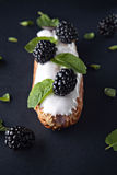 Exquisite cream dessert eclair Stock Images