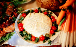 Exquisite dish. Exquisite food with tomato and cheese Royalty Free Stock Image