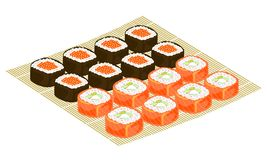 Exquisite dishes of national cuisine. On a beautifully served mat are seafood, sushi, rolls, caviar, rice and greens. Festive royalty free illustration